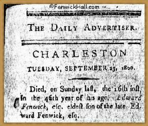 Obituary for Edward Fenwick Jr, died 9.13.1800.