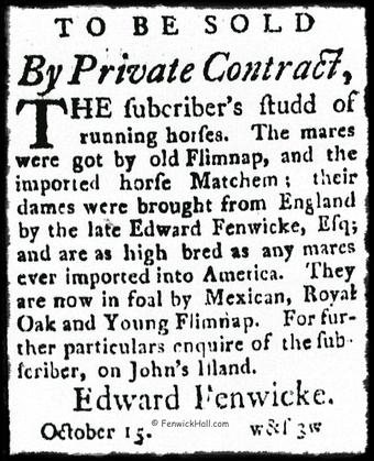 Edward Fenwick advertises his John's Island Stud Farm for Sale. 1788