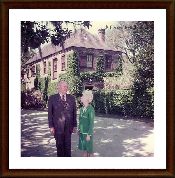 Mr Claude W. and Mrs Helena I. Blanchard, Sr in front of their 1750's Carriage House.  Photo ~ 1970 Courtesy their grandson, Claude Blanchard III.