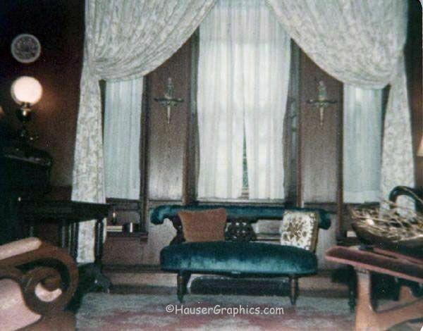 Palladian window of Fenwick Hall's music room as seen in1970's.  Hard to see the windows behind the window treatments.