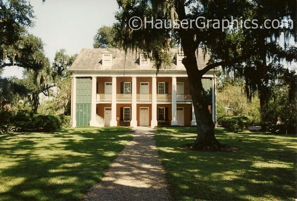 "Another former Louisiana Plantation, ""The Shadows on the Teche"" in New Iberia. This plantation is similar to Fenwick (and many plantations) in that the Bayou or River side of the house is the 'front'.  This image of the Shadows shows it's rear land side.  Behind the green shutters on the left is the outside stair case.   The Shadows is not nearly as old as Fenwick, but still impressive."