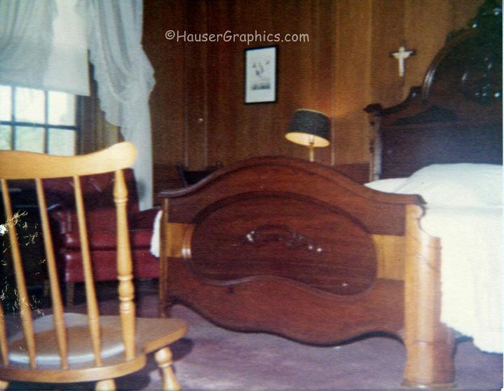 1970's SouthEast Upstairs bedroom which is in the oldest main section of the castle. Shown are more of the Blanchard's what would now be antique beds.  Note more of the heavily paneled walls.  Photographer John R. Hauser.